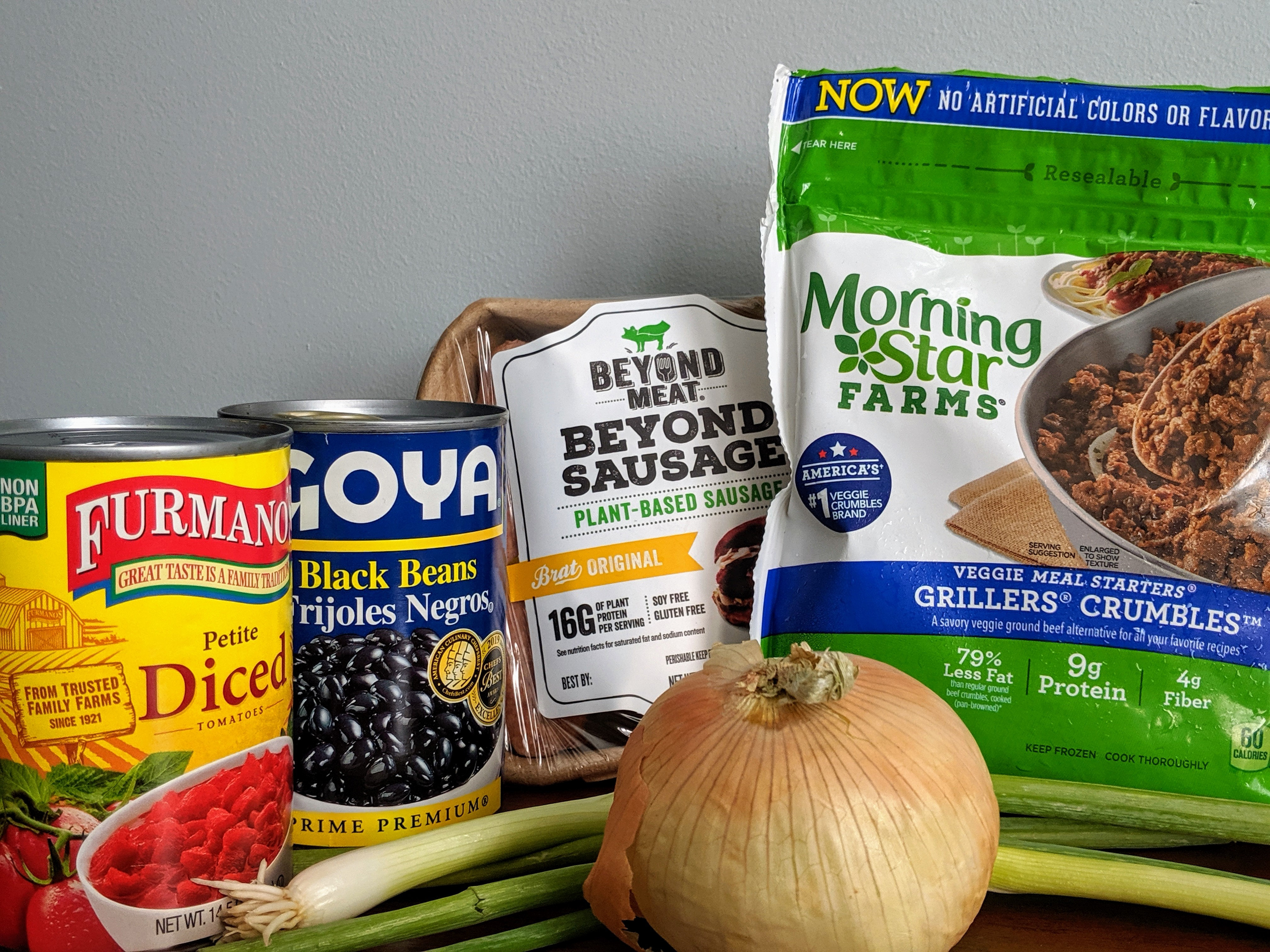 Ingredients for Beyond Sausage Chili Cheese Dogs. Morning star farms grillers crumbles, goya black beans, beyond meat beyond sausage.